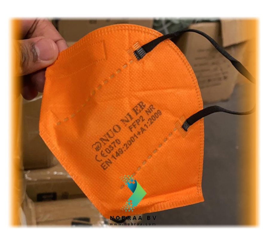 Orange FFP2 NR 5 Layer Top quality comfortable facemask | Single Pack