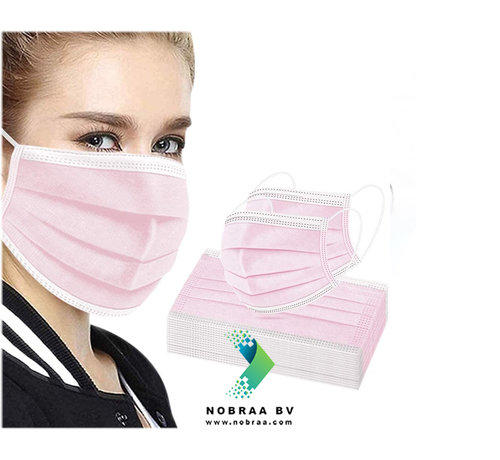 Miduoduo 3-Laags Chirurgische mondmaskers Roze MDD | 50 pack