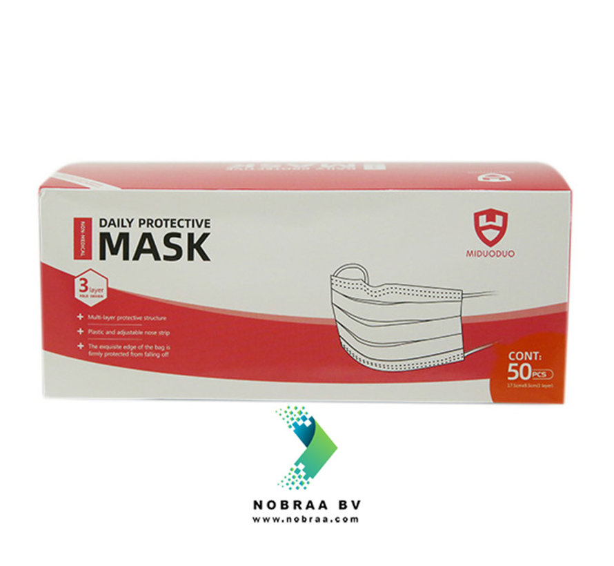 3-Laags Chirurgische mondmaskers Roze MDD | 50 pack