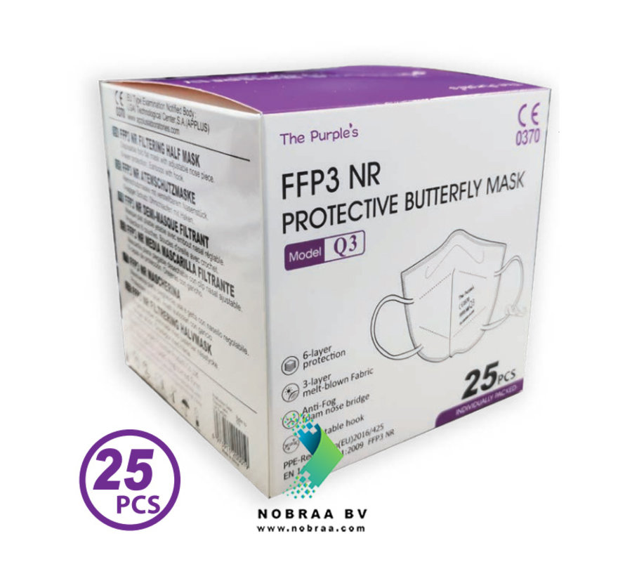 FFP3 NR Facemask | TPM Protective Butterfly Mask  | Wit | 25-Pack