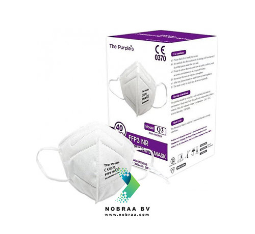 NOBRAA FFP3 NR Facemask | TPM Protective Butterfly Mask  | Wit | 25-Pack