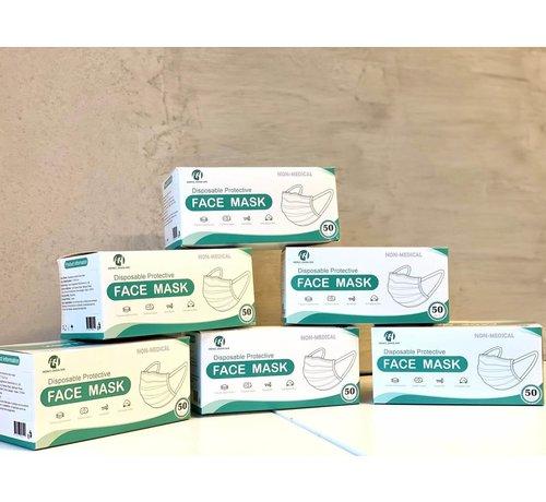 Mondkapjes.nl 3 Laags Chirurgische Mondkapjes   HZX    Omdoos 2000 stuks   (20 x 50 Pack)