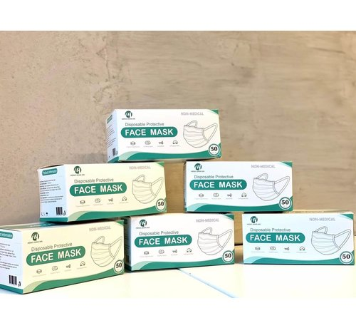 Mondkapjes.nl 3 Laags Chirurgische Mondkapjes Budget | HZX | Disposable doos | 150 pack