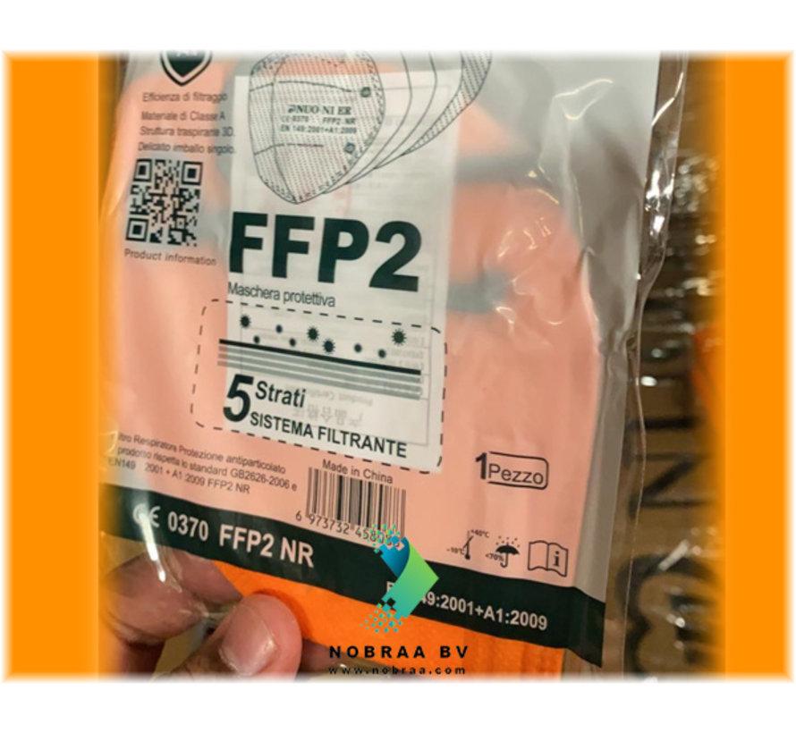 FFP2 NR 5 Laags kwaliteit mondmasker Oranje | 10 pack