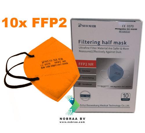 NUO 1R FFP2 NR 5 Laags kwaliteit mondmasker Oranje | 10 pack