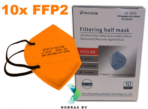NUO 1R FFP2 NR 5 Layer Top quality comfortable facemask Orange | 10x
