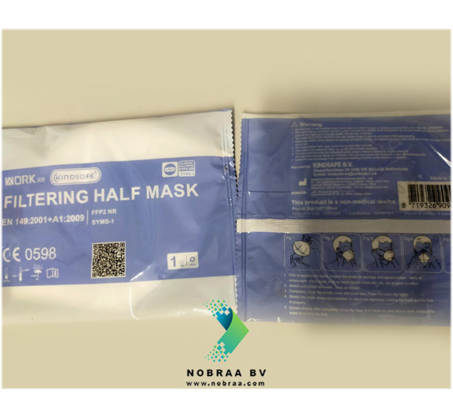 FFP2 NR  Work Kindsafe 5 Laags kwaliteit mondmasker Wit | Single Pack