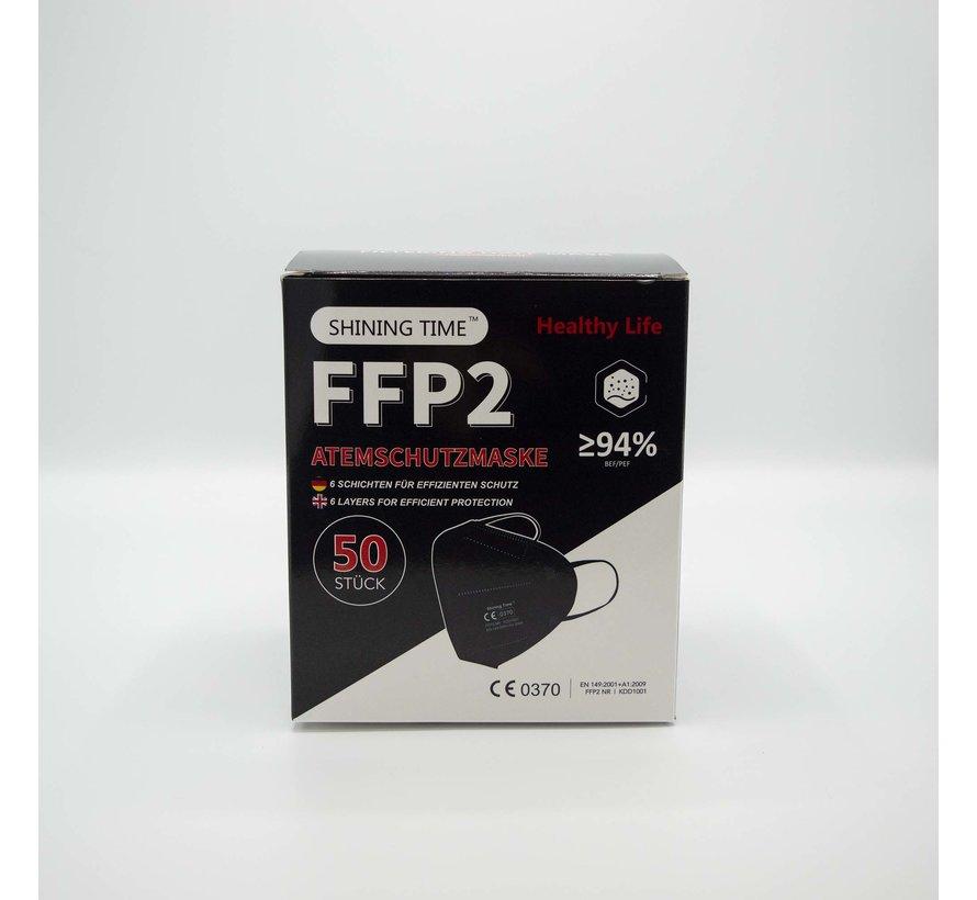 FFP2 Mondkapjes Zwart   Shining Time   50x