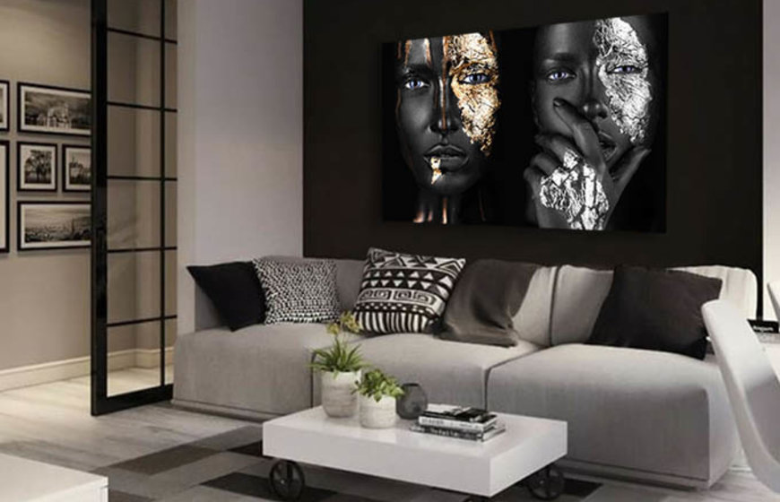 Gold and Silver Faces foto-art op plexiglas