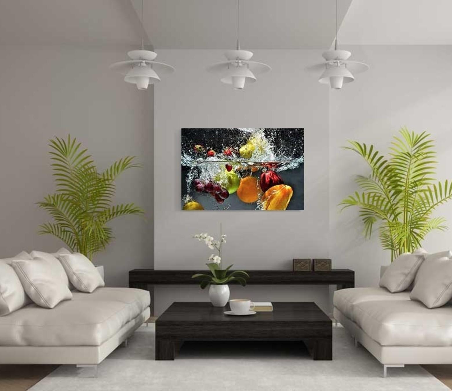 Splashed fruit foto-art dibond