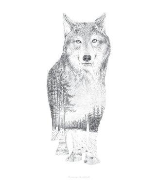 Faunascapes Faunascapes Poster Pentekening Wolf (diverse maten)