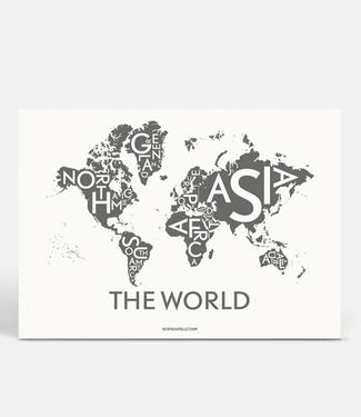 Kortkartellet Kortkartellet A5 Mini Poster The World Antraciet