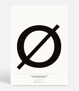 Kortkartellet Kortkartellet A5 Mini Poster Deense Letter Ø Zwart