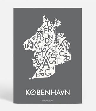Kortkartellet Kortkartellet Poster København 40x55  Antraciet Inverse