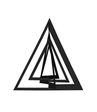 Strups Strups Papieren 3D Ornament Triangel Zwart (set van 2)
