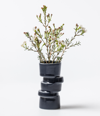 Lars Rank Keramik Lars Rank Keramik Handgemaakte Vaas Stacked Zwart Mini