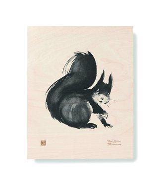 Teemu Järvi Teemu Järvi Plywood Poster Squirrel 24 x 30 cm
