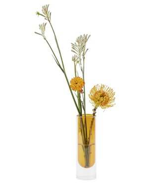 Studio About Studio About Flower tube glazen vaas H20cm Geel