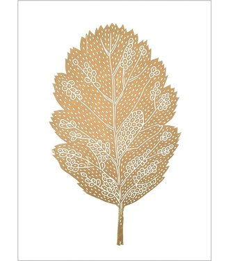 Monika Petersen Monika Petersen Lino Print Gold Oak Leaf  White A3