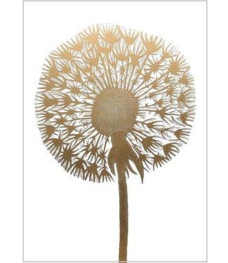 Monika Petersen Monika Petersen Lino Print Gold Dandelion  White 50x70