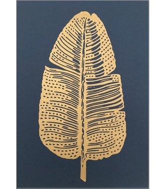 Monika Petersen Monika Petersen Lino Print Gold Feather Indigo A4
