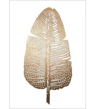 Monika Petersen Monika Petersen Lino Print Gold Feather White A4