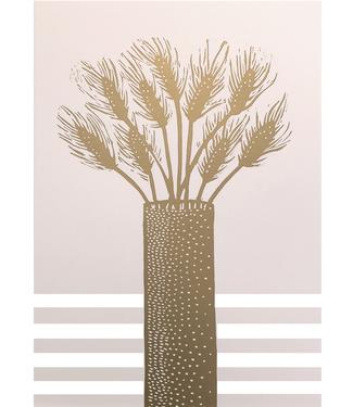 Monika Petersen Monika Petersen A3 Hand Cut Lino Print Lagurus Gold Pastel Pink