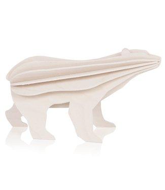 LOVI Lovi IJsbeer wit - 2 formaten - berkenhout 3D-dier DIY pakketje