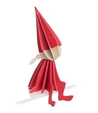 LOVI Lovi Elf meisje rood - 3 formaten - berkenhout 3D DIY pakketje