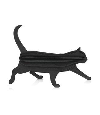 LOVI Lovi Kat zwart - berkenhout 3D-dier DIY pakketje