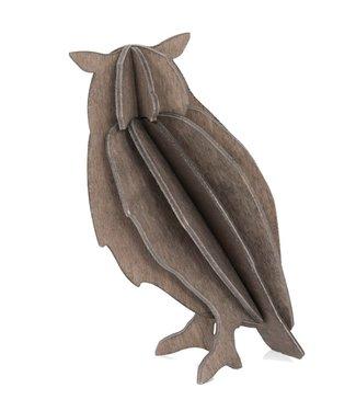 LOVI Lovi Uil grijs - berkenhout 3D-dier DIY pakketje