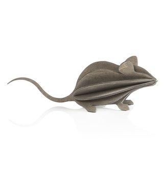 LOVI Lovi Mouse grey wood Birch plywood 3D-animal DIY package