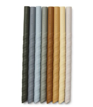Liewood Liewood Zoe Silicone Straws  Blue Multi Mix Set 8 Pack