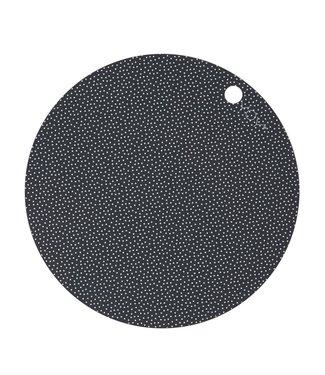 OYOY OYOY Placemat Dark Grey White Dot Round