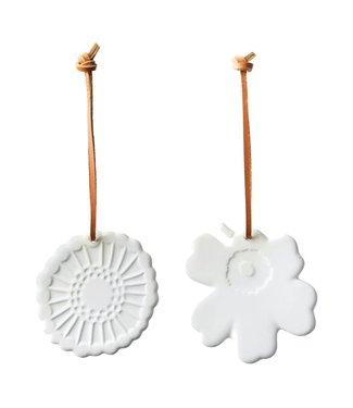 Marimekko Marimekko Kerst hang ornamenten set wit steengoed