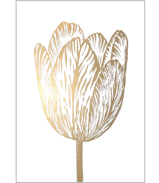 Monika Petersen Monika Petersen Lino Print Gold Rembrandt Tulip White 50x70