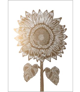 Monika Petersen Monika Petersen Lino Print Gold Sunflower Gold White 50x70