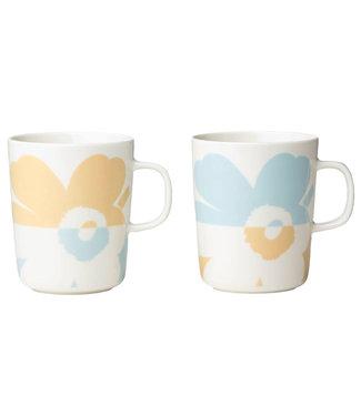 Marimekko Marimekko Juhla Unikko mug 2,5dl zwart-wit set of 2 light beige / light aqua