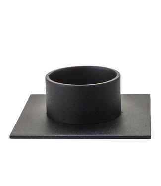 KunstIndustrien KunstIndustrien v Ø5cm kaars metaal mat zwart Kandelaar Vierkant