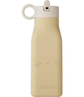 Liewood Liewood Warren siliconen waterfles Cat wheat yellow