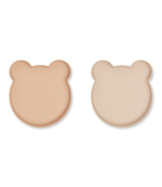 Liewood Liewood Marty silicone plate- 2 pack Mr Bear rose mix