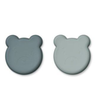 Liewood Liewood Marty siliconen bordenset van 2 stuks Mr Bear blue  mix