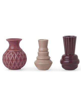 Dottir Dottir Samsurium Minibell small vases  set van 3 Roze mix