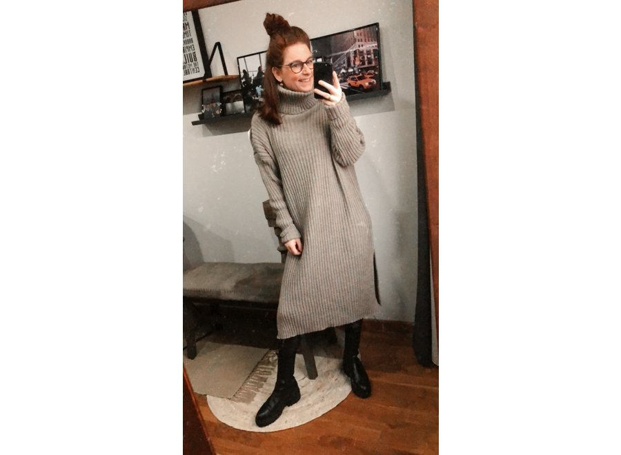 Jamie Knitted Dress Taupe