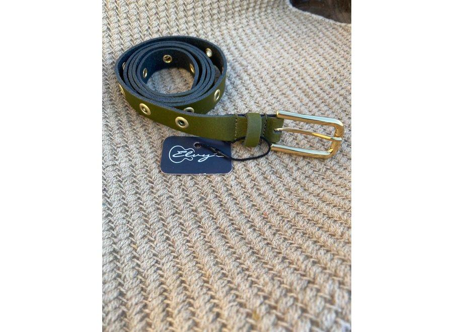 Elvy Belts – Eyelets olijf/goud