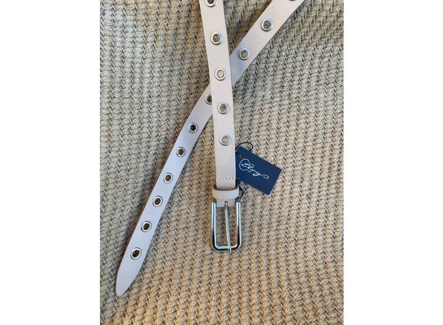 Elvy Belts – Eyelets beige/zilver