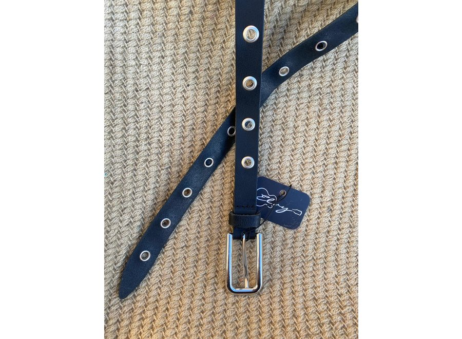 Elvy Belts – Eyelets zwart/zilver