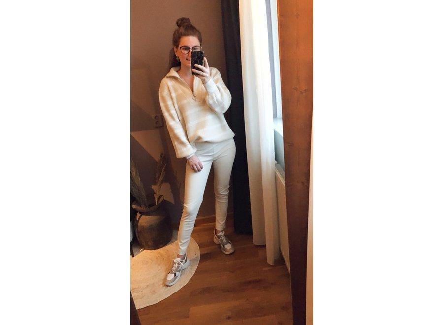 Zipper Knit Beige&White