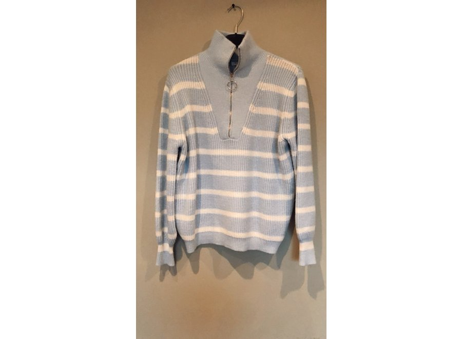 Zipper Knit Blue&White