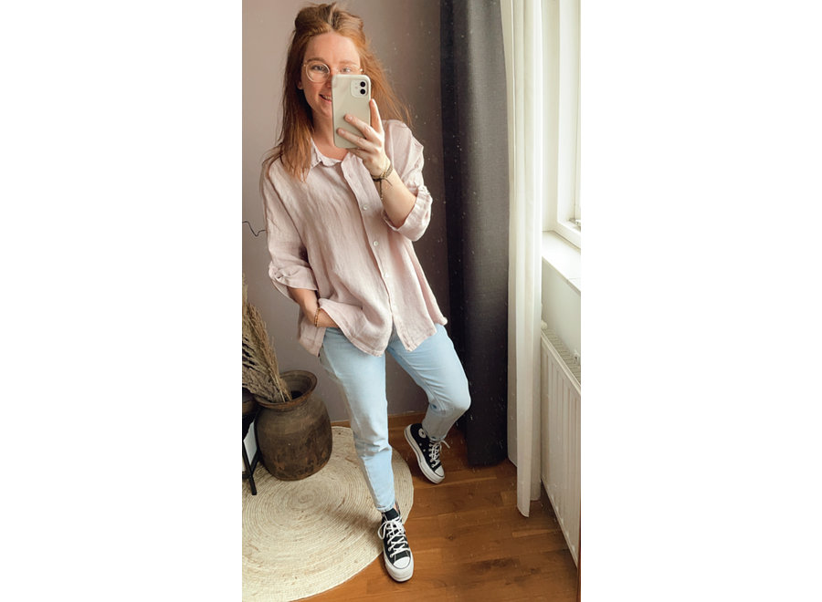 Elly Blouse Linnen Oud-roze